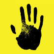 Handprint on yellow background — Stock Vector #13678240