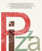 Pizza. Design print retro background — Stock Vector