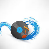 Turntable on background with wave — Stock Vector