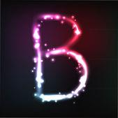 Vector alphabet. Neon letter — Stock Vector