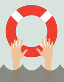 Life buoy and hands in water — Stock Vector
