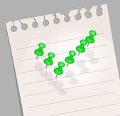 Opmerking papier met pinnen. vinkje — Stockvector