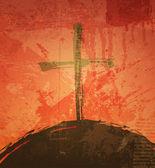 La croix sur le fond grunge. le concept biblique. coucher de soleil — Vecteur
