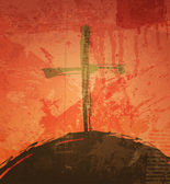 The cross on the grunge background. The biblical concept. Sunset — Stockvector