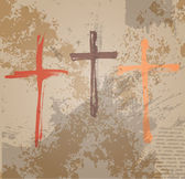 Three Crosses on the grunge background. The biblical concept — Stock Vector