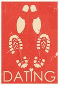 Datation. rendez-vous des amoureux. affiche rétro grunge — Vecteur