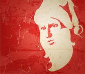 Jultomten. porträtt på grunge bakgrund — Stockvektor