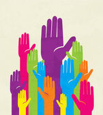 Colorful up hand. concept of democracy — Vector de stock