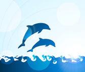 Golfinho a saltar através de ondas — Vetorial Stock