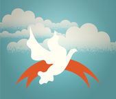 The dove hovering in the sky against a background of clouds. — Stock Vector