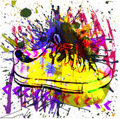 Stylish Sneakers. On grunge background — Stock Vector
