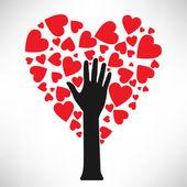 Arbre stylisé amour fait de coeurs — Vecteur