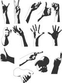 Silhouettes of hands — Stock Vector
