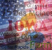 Stato di iowa. parola grunge collage su sfondo. — Vettoriale Stock