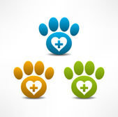 Veterinary Clinic symbol. Animal paw print — Stock Vector