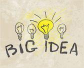 革新的なランプ。ビッグ アイデア — ストックベクタ