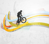 Vector illustration of BMX cyclist on rainbow — Stock Vector
