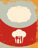 Restaurant menu ontwerp. met het silhouet koken chef-kok — Stockvector
