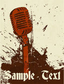 Grunge concert poster with microphone — Stock Vector