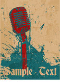 Grunge concert poster with microphone — Vector de stock