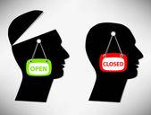 Conceptual Illustration of a man. A person with an open head cov — Stock Vector