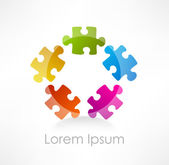 Colorful puzzle piece vector icon — Stok Vektör