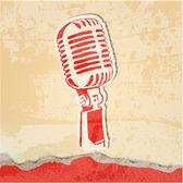 Cartel del concierto de grunge con micrófono — Vector de stock