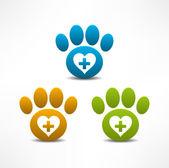 兽医诊所的符号。动物爪子印 — 图库矢量图片
