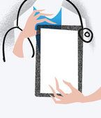 Doctor holding a tablet. Medical illustration. — Stock Vector
