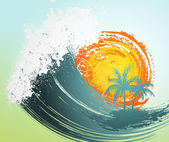 Tropical background with palm, waves and sun — Stock Vector