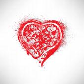 Painted brush heart shape — Stock Vector