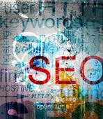 Seo. palabra grunge collage sobre fondo — Vector de stock
