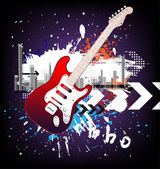 Retro musik veranstaltung hintergrund mit einem bunten e-gitarre. raster-version — Stockvektor