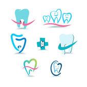 Iconos dentales. estomatología. — Vector de stock