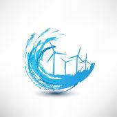 Concepto de turbinas de viento de vector — Vector de stock