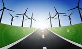 Paisaje de turbinas de viento — Vector de stock