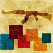 Grunge AK 47 on wall — Stock Vector