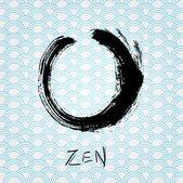 Círculo de pincelada de caligrafia zen. personagem oriental. — Vetor de Stock
