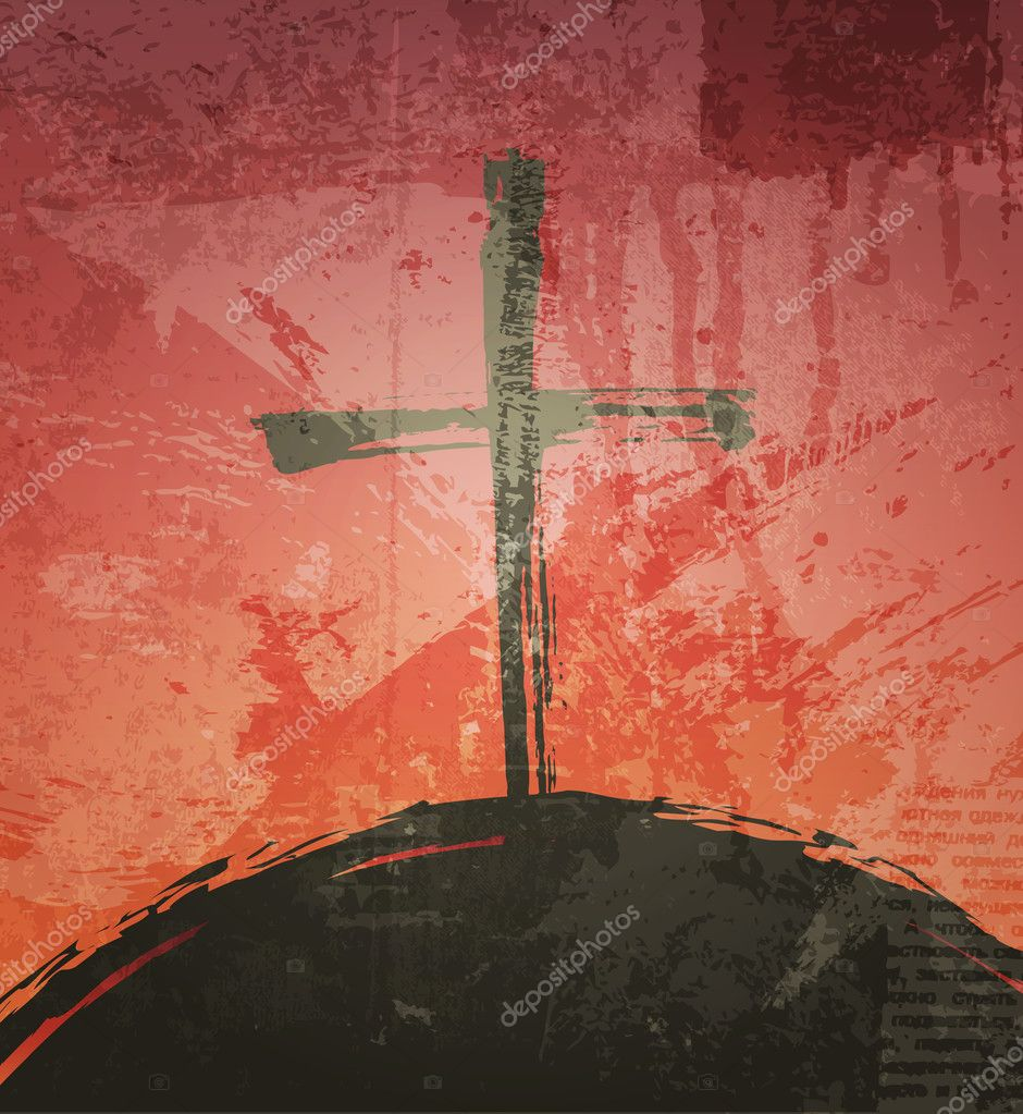 The cross on the grunge background. The biblical concept. Sunset  Stock Vector #13675971