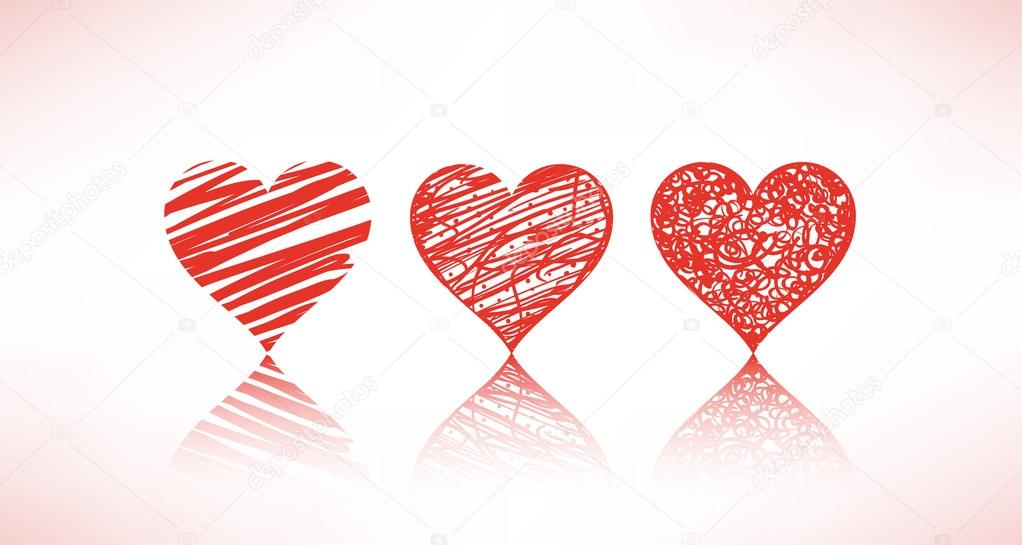 Set of scribble hearts — Stock Vector #13677808