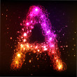 Stock Photo: Neon Light Alphabets. Letter A