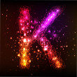 Stock Photo: Neon Light Alphabets. Letter K