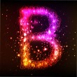 Neon Light Alphabets. Letter B — Stock Photo