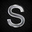 Vector metallic font on a metal grid. Letter S - Foto Stock