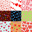 Super set vector seamless pattern with hearts - Stock Photo
