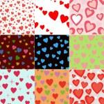 Super Set Vektor nahtlose Muster mit Herzen — Stockfoto