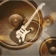 Retro Music Event Background with a colorful Electric Guitar. Raster version - Stock Photo