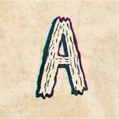 The letter A. On the old paper. sketch — Stock Photo