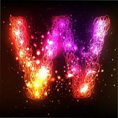 Neon Light Alphabets. Letter W — Stock Photo