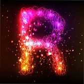 Neon Light Alphabets. Letter R — Stock Photo